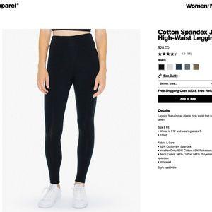 American Apparel High Waisted Black Leggings